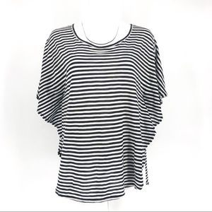 BCBG MaxAzria black white striped top marine s